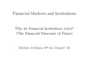 Lecture 16 - Why financial institutions exist