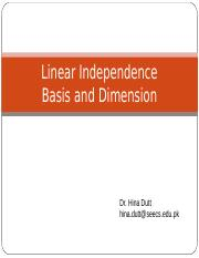 13. Linearly Independent, Basis and Dimension.ppt