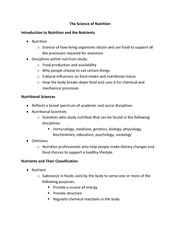 EXSC 200L - The Science of Nutrition Notes