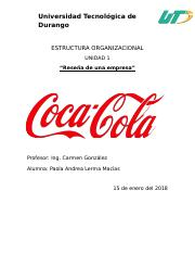 Coca Cola Docx Universidad Tecnolgica De Durango