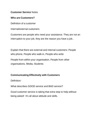 Customer Service Notes