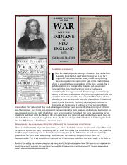 NHC- Metacomets War commentary by both sides 1670s