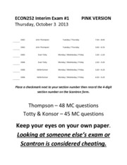 ECON252 Interim Exam #1 10-03-2013 - PINK