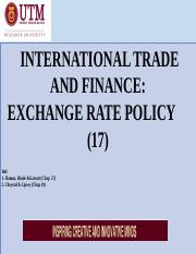 EA L17- INTERNATIONAL  TRADE AND FINANCE  - EXCHANGE  RATE  [XVII]