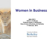 UGBA 192T Women in Business: Women in the Economy Lecture