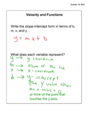 Velocity and Functions Notes