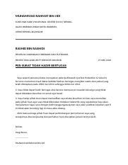 Surat Resign Bibie Nurulikmah Binti Jidi Krew Mcdonald Cure Care