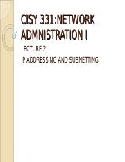 CISY 331 Lecture2 IP addresses and subnetting