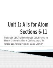 Unit 1 A is for Atom Sections 6-11 (Final)