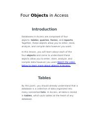 Access Four Objects  Worksheet Two.docx