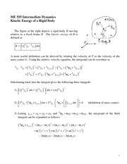 Kinetic Energy of a Rigid Body Review