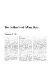 2. The Difficulty of Faking Data