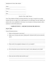 Topic, Angle, Purpose Writing Worksheet.docm