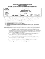 2015 NHS Candidate Information Form