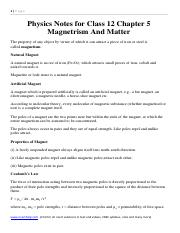 Physics Notes for Class 12 Chapter 5 Magnetrism And Matter formulas downlaod