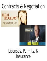 Contracts, Negotiation, Licenses, Permits, Insurance