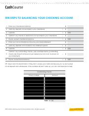 10 Steps to Balancing Your Checking Acct Worksheet