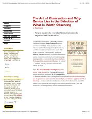 The Art of Observation and Why Genius Lies in the Selection of What Is Worth Observing-Brain Picking