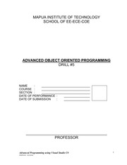 DRILL 5 - Advanced Object Oriented Programming