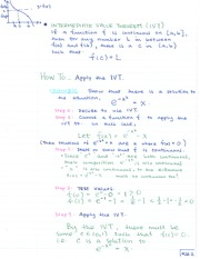 MATH 133 Application of Intermediate Value Theorem Notes