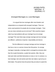 what are four ways to reinforce the central idea when concluding 3 pages love vs arrange marriage