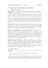 Topics in Computational Number Theory