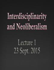 Interdisciplinarity  Neoliberalism 23 Sept 2015.ppt