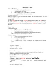 SHOW DON'T TELL LECTURE NOTE FOR WRIT 2720