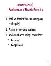 Lecture 18-1 Valuing a Business - Book Values v Fair Values [from week 7].ppt
