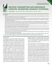 Protine Consumption and Resistance Exercise- Maximizing Anabolic Potential