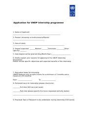 UNDP 2015 Interns Application Form