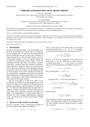 [Article] Uniformly accelerated observers in special relativity