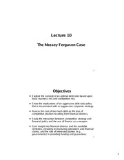 Lecture 10 - The Massey Ferguson Case