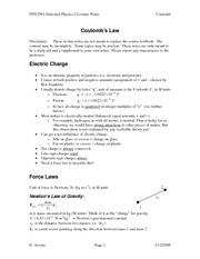PHY2061 - Enriched Physics 2 Lecture Notes CoulombsLaw