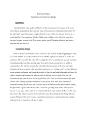 Watershed project hypothesis and design