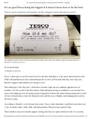 Telegraph - Its no good Tesco being the biggest