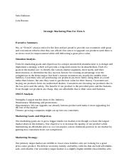 Strategic Marketing Plan For Firm A.docx