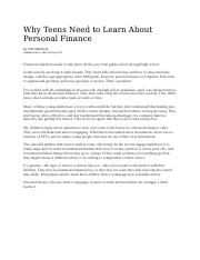 Why Teens Need to Learn About Personal Finance.docx