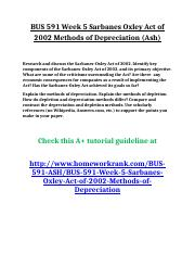 BUS 591 Week 5 Sarbanes Oxley Act of 2002 Methods of Depreciation (Ash).doc