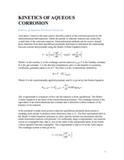 Notes on Kinetics of Aqueous Corrosion Processes