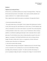 Handout 1 - Definitions of Learning and Theory