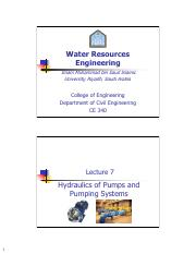 Lecture 7 - Hydraulics OfPumps &PumpingSystems