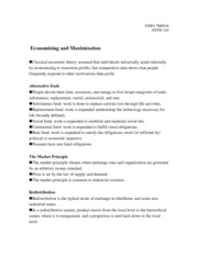 Economizing and Maximization Notes