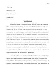 Music Man Reflection Paper