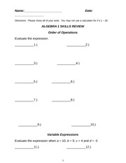 Algebra I Skills Review Unit 00_New