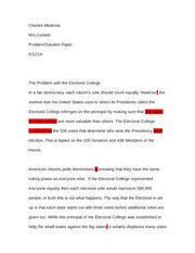 Problem-Solution Paper on The Electoral College