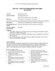 CIS 115  - Intro to Programming and Logic - Spring 2016 Syllabus.doc