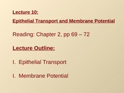 Lec10 - Epithelial Transport and Membrane Potential