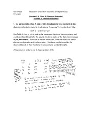 f11 HW 9 Chap 9 Diatomics Answers to selected problems