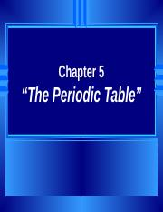 Chapter 5 Honors The Periodic Table